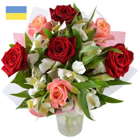 זר ורדים אדום ורוד מעורב עם אלסטרומריה