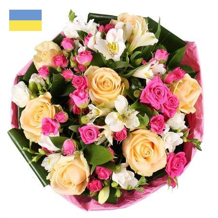 זר מעורב ורדים במבחר צבעים