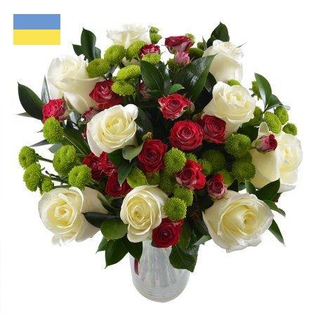 זר ורדים אדום ולבן בתוספת ירק