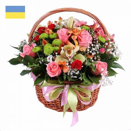 סלסלת פרחים פסטל